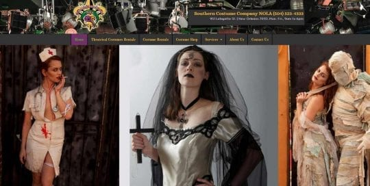 southern costume company website design image